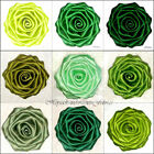 "Large 3"" Handmade ROSE Berisford Dbl Satin Bridal Dress Corsage Applique GREENS"