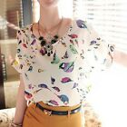 Celeb Style Vintage Animal Bird Print Loose Fit Chiffon Bat Blouse Shirt Tops