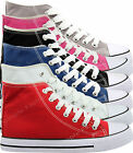 New Ladies Shoes Girls Womens Flat Canvas Pumps Lace Up Casual Trainers Size 3-8