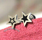 Set of 2 Korean Band Infinite Black Fill Open Star Earring Stud Stainless Steel