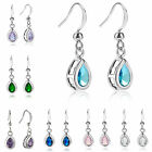 Fashion Jewelry Lady Pear Cut 18k White Gold Plated Dangle Ring Earring