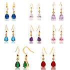 Lady Gift 18k Yellow Gold Plated Dangle Birthstone Earring Drop Fashion Jewelry