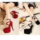 Women Pumps Shoes Faux Suede High Heel Straps Buckle Sexy AU Size 4-7.5 s036