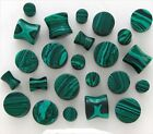PAIR Green Stone Malachite Double Flare Saddle Ear Plugs You Pick Size