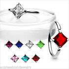 "1PC 14g 1/2"" Captive Bead Ear Nipple Navel Belly Ring Square  CZ Gem UPick Color"