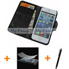 Black Flip Genuine  Leather Case Cover Screen Guard Stylus For Apple iPhone 5