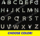 PICK ANY 10 letters -block alphabet rhinestone iron on transfer -CHOOSE COLOR