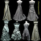 Cherlone Satin Grey Prom Ball Lace Bridesmaid Formal Wedding Evening Gown Dress