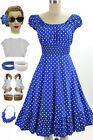 50s Style Blue & White POLKA Dot PLUS SIZE Peasant Top On/Off The Shoulder Dress