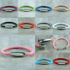 8''L Unisex PU Leather Plaids Rope Stainless Steel Buckle Suffer Bracelet Bangle