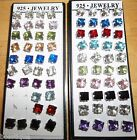 NEW Pretty .925 Silver 6mm x 6mm Square Post Gift Crystal Earrings, Choose Color
