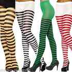 Ladies Red Green Orange Pink Purple Black White Striped Fancy Dress Tights Socks