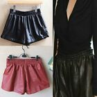 Womens Ladies Sexy Elastic Waist Faux Leather Hot Mini Shorts Pants with Pocket