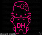 HELLO KITTY DH DENTAL HYGIENIST DECAL STICKER TOOTH ASSISTANT DENTIST WINDOW RN