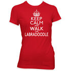 KEEP CALM AND WALK THE LABRADOODLE LADIES MENS DOG T SHIRT WOMENS PET GIFT  #174