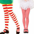 Childs Kids Adults Red White Striped Stripy Tights Fancy Dress Costume Dance