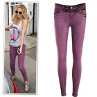 New purple coat strechy low rise skull studs skinny jeans