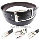 UNIQUE HIGH QUALITY REVERSIBLE BLACK/BROWN SYNTHETIC LEATHER BELT SILVER BUCKLE