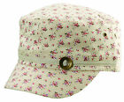 Scala by Dorfman Pacific Womens Floral Print Linen Military Cadet Baseball Cap