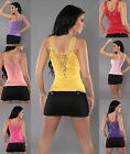 Sexy new ladies fit clubwear lace party sleeveless top REGULAR (6,8,10) size UK