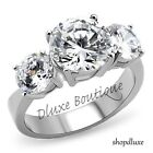 Women's Three Stone CZ Stainless Steel Anniversary Engagement Ring Band Sz 5-10
