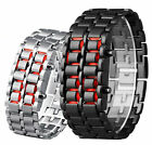 LED Red Light Digital Deluxe Stainless Steel Ladies Mens New Wrist Watch Watches