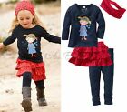 Girls Baby T-shirt+Skirt+Leggings+Headband 4PCs Set Outfit Dress Autumn SZ 6M-5T