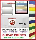 Percale Poly Cotton Fitted Bed Sheet in Single Double King Super King Sizes