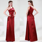 Rich Wine Red One Shoulder Wedding Formal Party Pageant Cocktail Prom Dresses