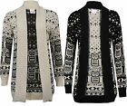Womens Ladies Owl Print Knitted Long Sleeve Jumper Open Cardigan Plus Size 8 26
