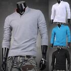 New Muscle New Mens Fashion Slim Fit Long Sleeve Top V-Neck T-Shirts Polo Shirt
