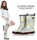 Ladies Sweet Flower Print Wellington Wellies Rubber Rain Ankle Boots Shoes S358