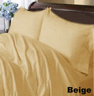 BEIGE STRIPE WATERBED SHEET 1000TC 100% EGYPTIAN COTTON SELECT SIZE FREE SHIP