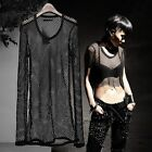 ByTheR Fashion Black Mesh Layered Solid One Size Long Sleeve T-shirts AU