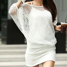 New Women Sexy Mesh Holes Strappy PARTY Club Mini Dress Batwing Sleeves Wrap Hip