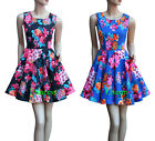 Blue Black Swing Cocktail Party Dance Dress Floral Size 8 10 12 14 16 18 20 New