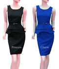 Peplum Office Pencil Dress Black Blue Belted Plus Size 22 20 18 16 14 12 10 New