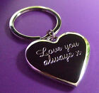 Personalised Engraved Polished Silver Chrome Love Heart Keyring / Free P&P!!!