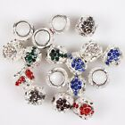 Fashion Popular Colorful Rhinestone Bright Charm Silver Alloy Beads For Bracelet