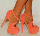 LADIES CORAL PINK FAUX SUEDE STUDDED STUDS PLATFORMS STILETTO HIGH HEELS SHOES