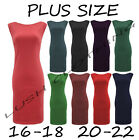 B38-PLUS SIZE 16,18,20,22 SLEEVELESS PONTY BODYCON KNEE LENGTH DRESS