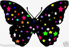 25 x  Black Butterflies With COLOUR STARS Edible Decorations Cup Cake Toppers
