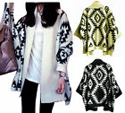 Womens Geometric Tribal Aztec Knitted Cardigan Wrap Cape Sweater Oversized Tops