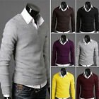 Men's Casual Slim Fit V-neck Knitted Cardigan Pullover Jumper Sweater Tops