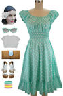 50s Style MINT & White POLKA Dots PINUP Peasant Top On/Off The Shoulder Dress