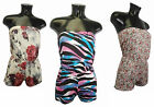 NEW WOMENS LADIES PLAYSUIT JUMPSUIT SHORTS BANDEAU SUMMER TOP ALL IN ONE S/M M/L