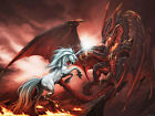 Unicorn vs. Fire Dragon - CANVAS OR PRINT WALL ART