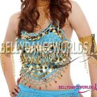 BELLY DANCE COSTUME COLORFUL GOLD BEADS HALTER TRIBAL TOP BOLLYWOOD DANCING NEW