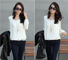 New Fashion Lady's Tops Bubble Long Sleeve Chiffon Loose Casual Career Blouse