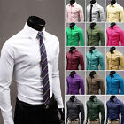 Mens Casual Slim fit Dress Boys Male Shirts Tops Business Formal 17colors M-XXXL